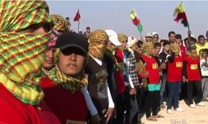 PYD supporters at a funeral for a deceased member.
