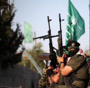 Hamas militia on patrol in Gaza City