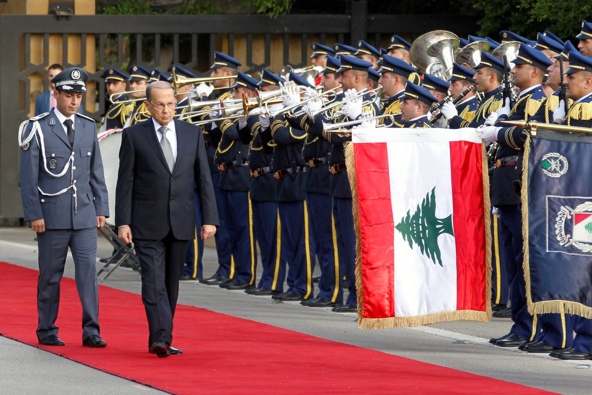 Lebanese newly elected president, Michel Aoun, reviews the honour guards upon arrival to the presidential palace in Baabda REUTERS