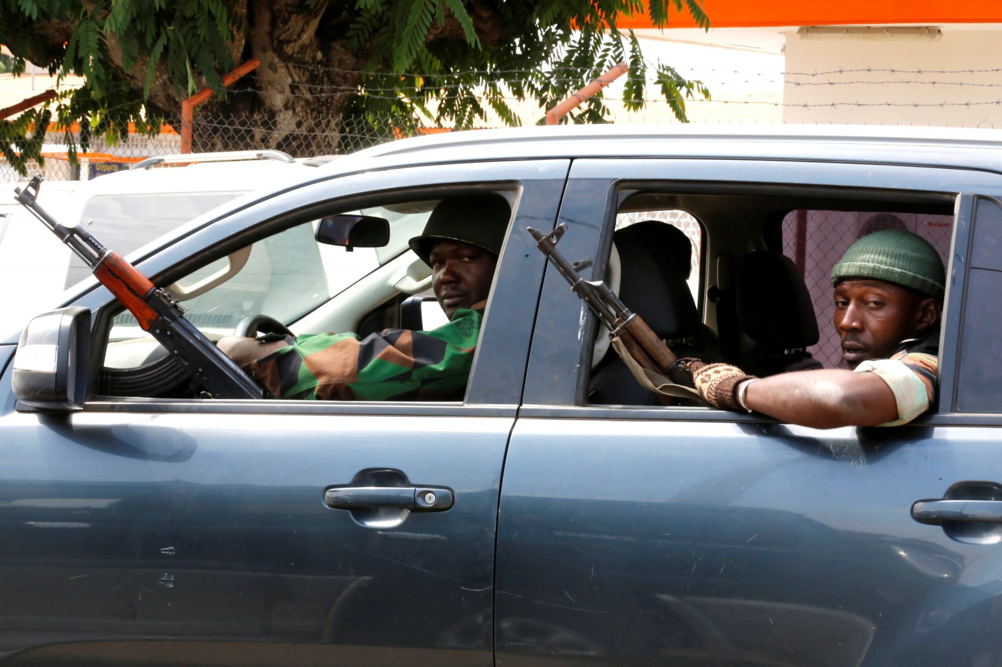 Ivory Coast mutiny - soldiers are seen in a car, in Bouake RUETERS