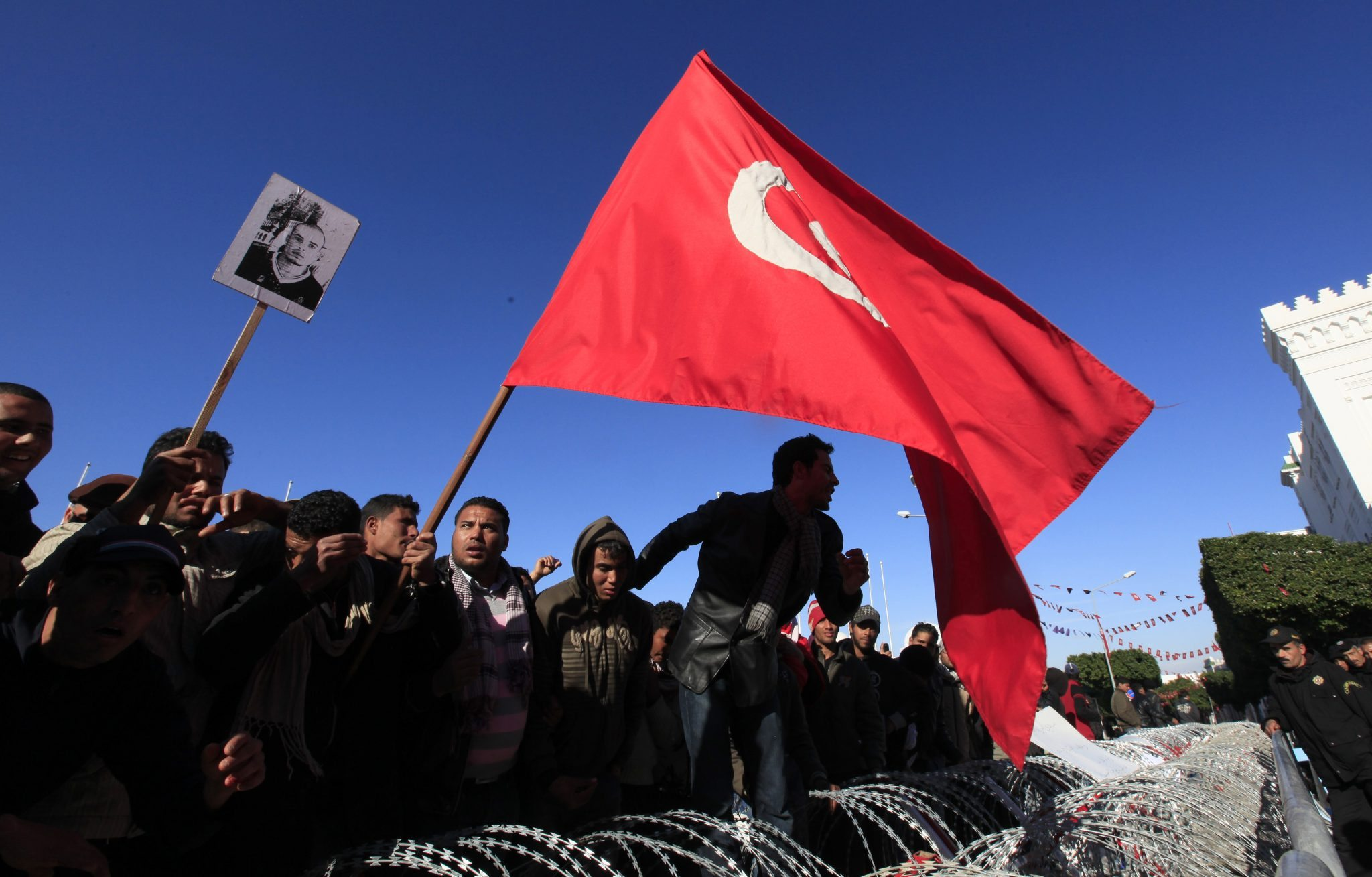Protesters from Tunisia's poor rural heartlands chant slogans during a Tunisian Revolution REUTERS