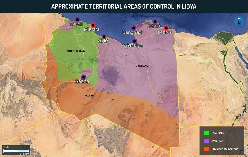 Approximate Territorial Areas of Control in Libya