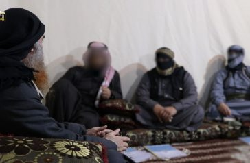 Al-Baghdadi and the three companions  seen in the video