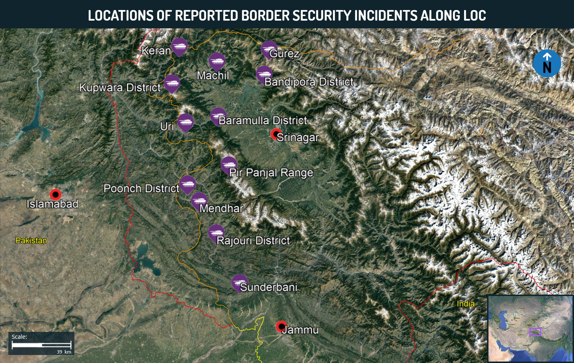 Locations of Reported Border Security Incidents Along LOC