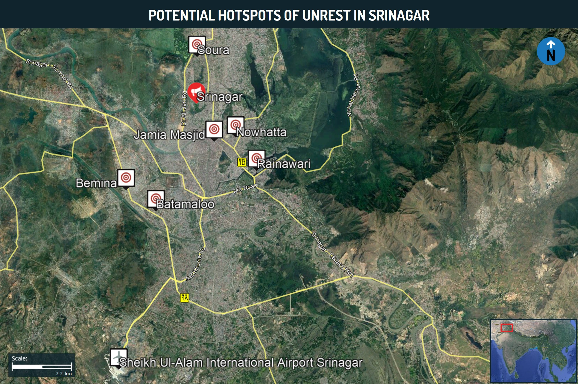 Potential Hopspots of Unrest in Srinagar